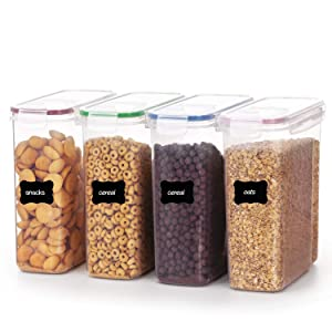 Vtopmart Cereal Storage Container Set, BPA Free Plastic Airtight Food Storage Containers for Cereal, Snacks and Sugar, 4 Piece Set Cereal Dispensers with 24 Free Chalkboard Labels