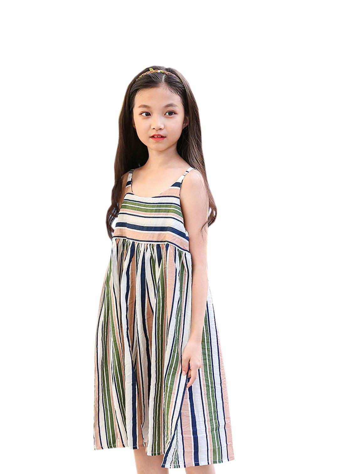 YueLian Little Girl's Short Strap Dress Sleeveless Stripes Summer Travel Outfits (8-9 Years)