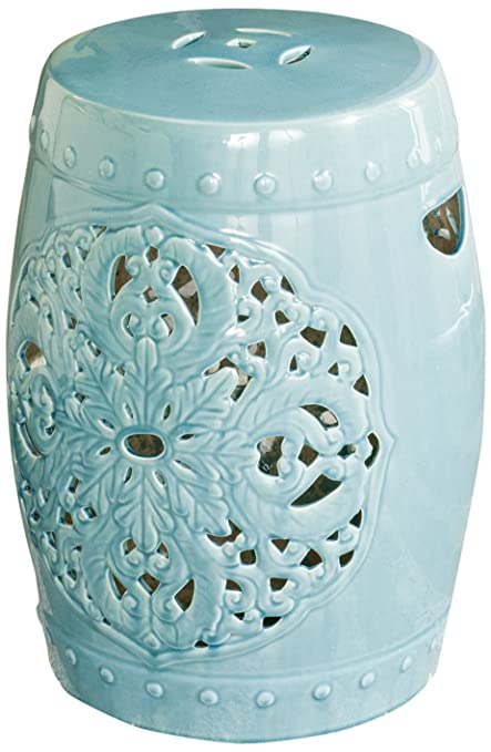 Astounding Safavieh Acs4527B Castle Gardens Collection Flora Glazed Ceramic Garden Stool Aqua Flora Andrewgaddart Wooden Chair Designs For Living Room Andrewgaddartcom