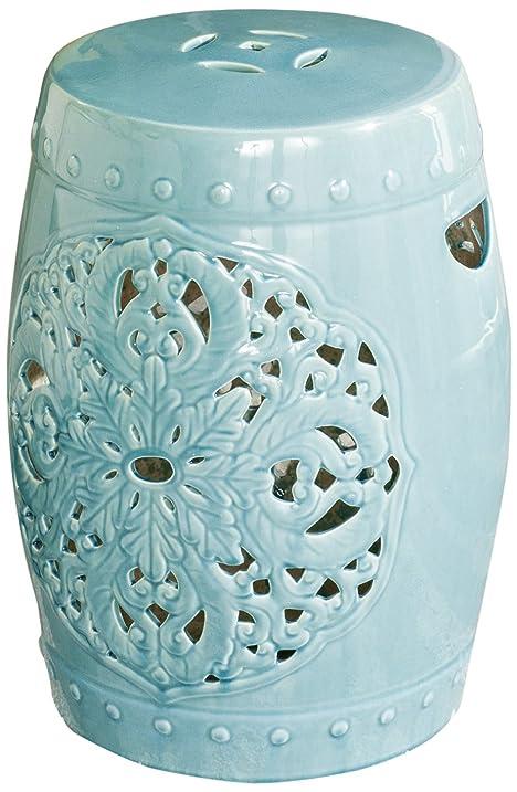 Safavieh Castle Gardenu0027s Collection Glazed Ceramic Light Blue Flora Garden  Stool