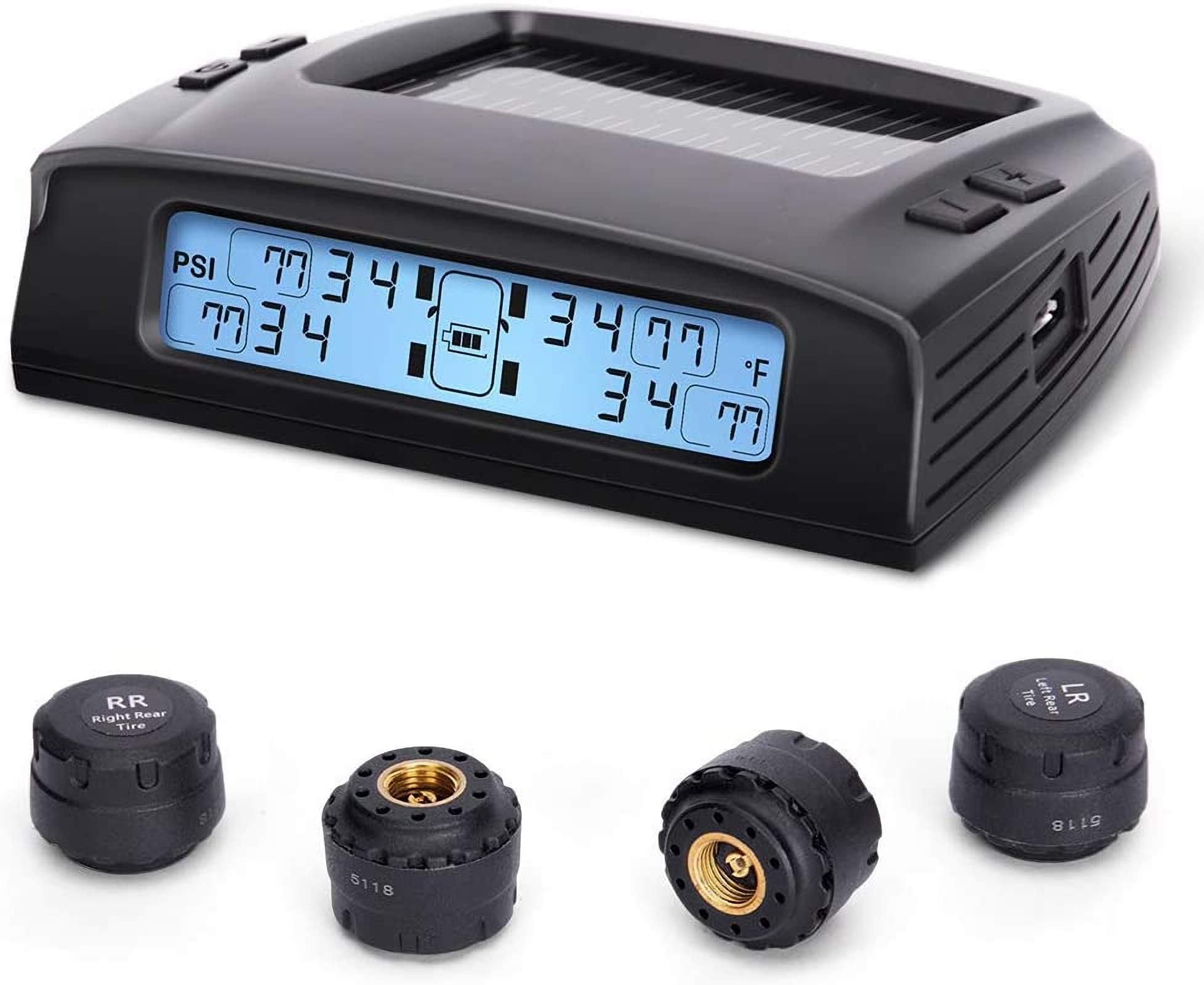 Tymate Tire Pressure Monitoring System-Solar Charge, 5 Alarm Modes, Auto Backlight & Smart LCD Display, Auto Sleep Mode, with 4 External Tpms Sensor (0-87 PSI)
