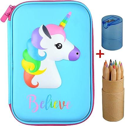Estuche para lápices, estuche de goma EVA para lápices con compartimentos para niñas y niños + 12 lápices de colores (azul): Amazon.es: Oficina y papelería