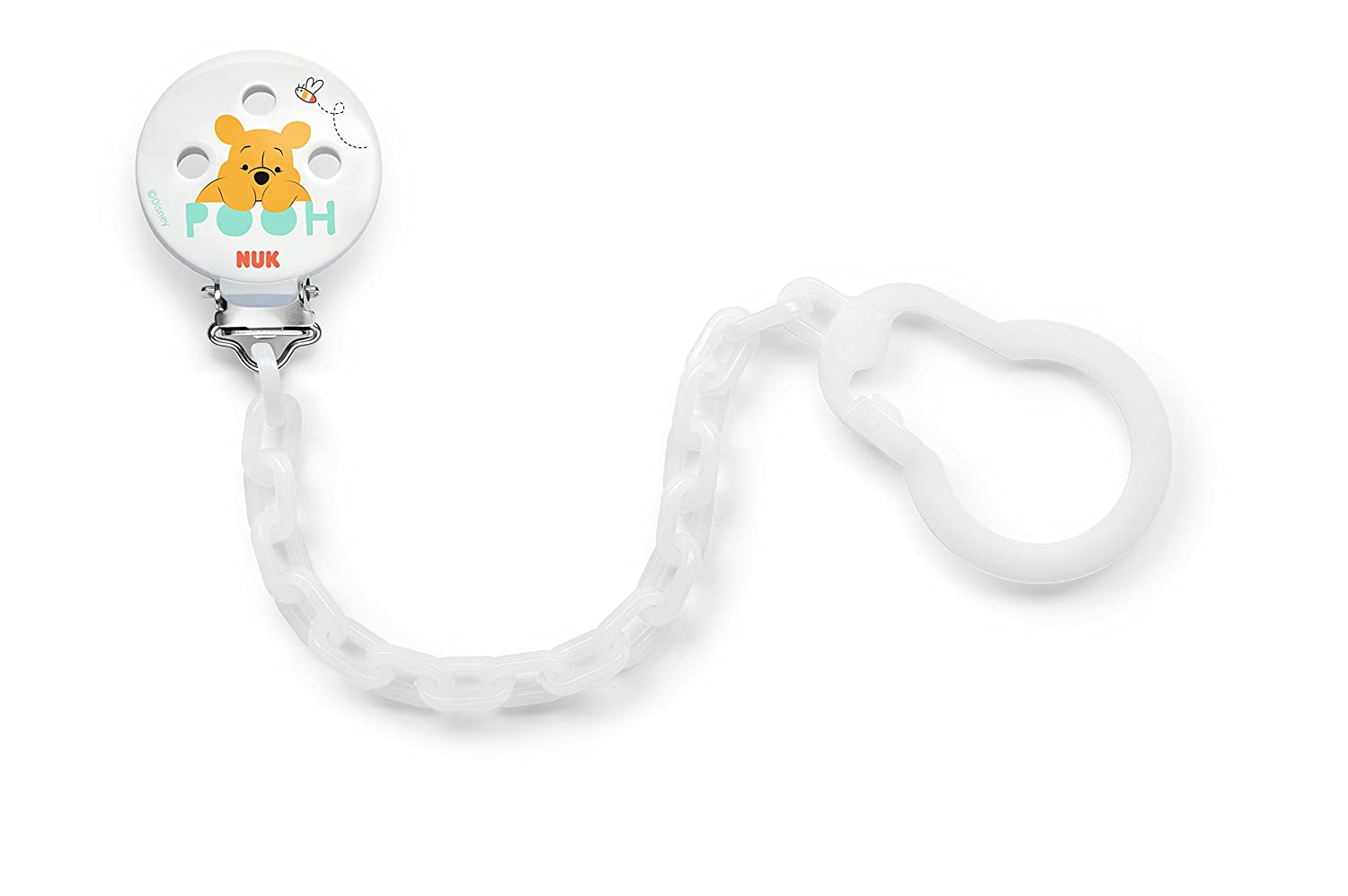 Nuk, Disney Winnie The Pooh Baby's Dummy Pendant with Clip for attaching The Dummy to Clothes, Pack of 1