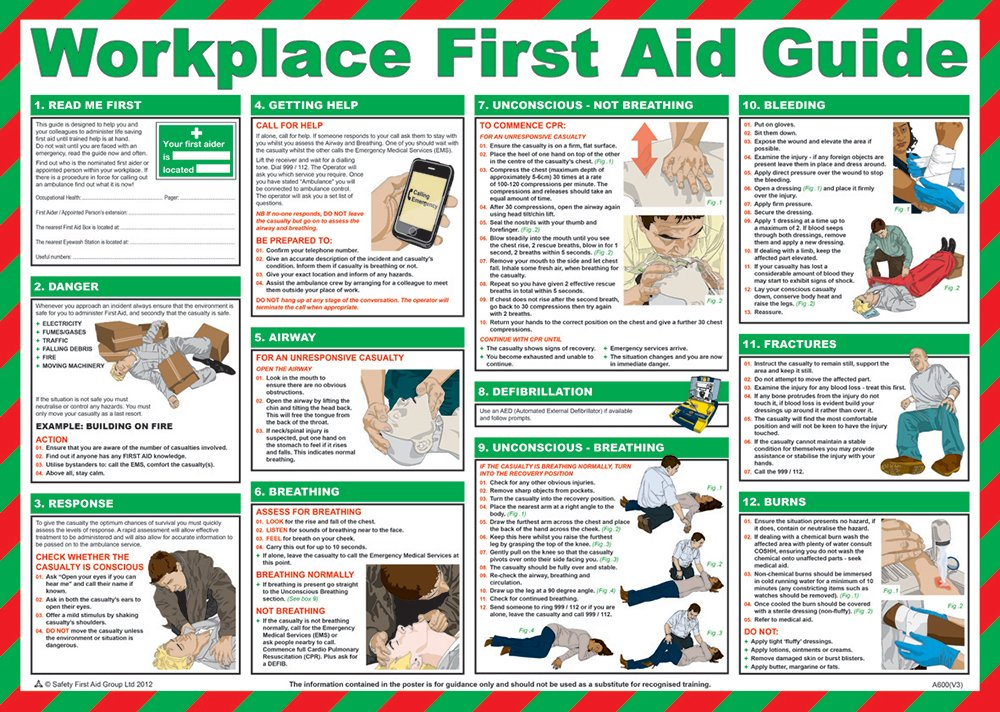 image about Printable First Aid Guides referred to as Basic safety 1st Help Neighborhood Initial Help at Energy Marketing consultant Poster