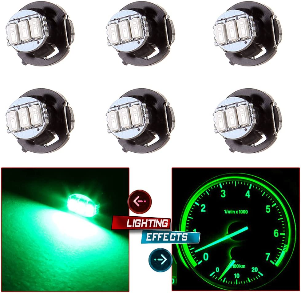 cciyu 4 Pack Green 3-3014SMD T4//T4.2 Neo Wedge HVAC Climate Control LED Light Bulbs Replacement fit for 2002 Jeep