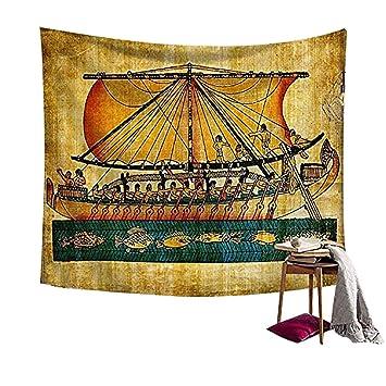 HYC23 - Manta para colgar en la pared, diseño de barco egipcio con mandala hippie, estilo bohemio: Amazon.es: Hogar