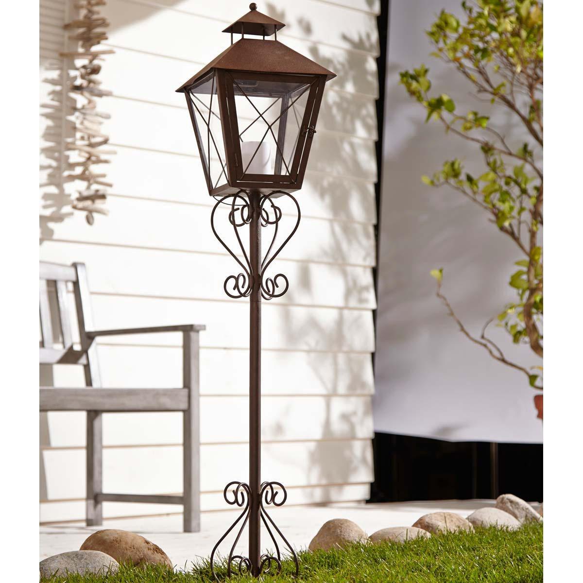 Solarleuchte Gartenlaterne Antik, Metall, braun, ca. 170 cm hoch ...