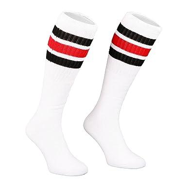 be6354ab575 Skatersocks 22 Inch oldschool Tube Socks knee high white black-red striped  tubesocks  Amazon.co.uk  Clothing