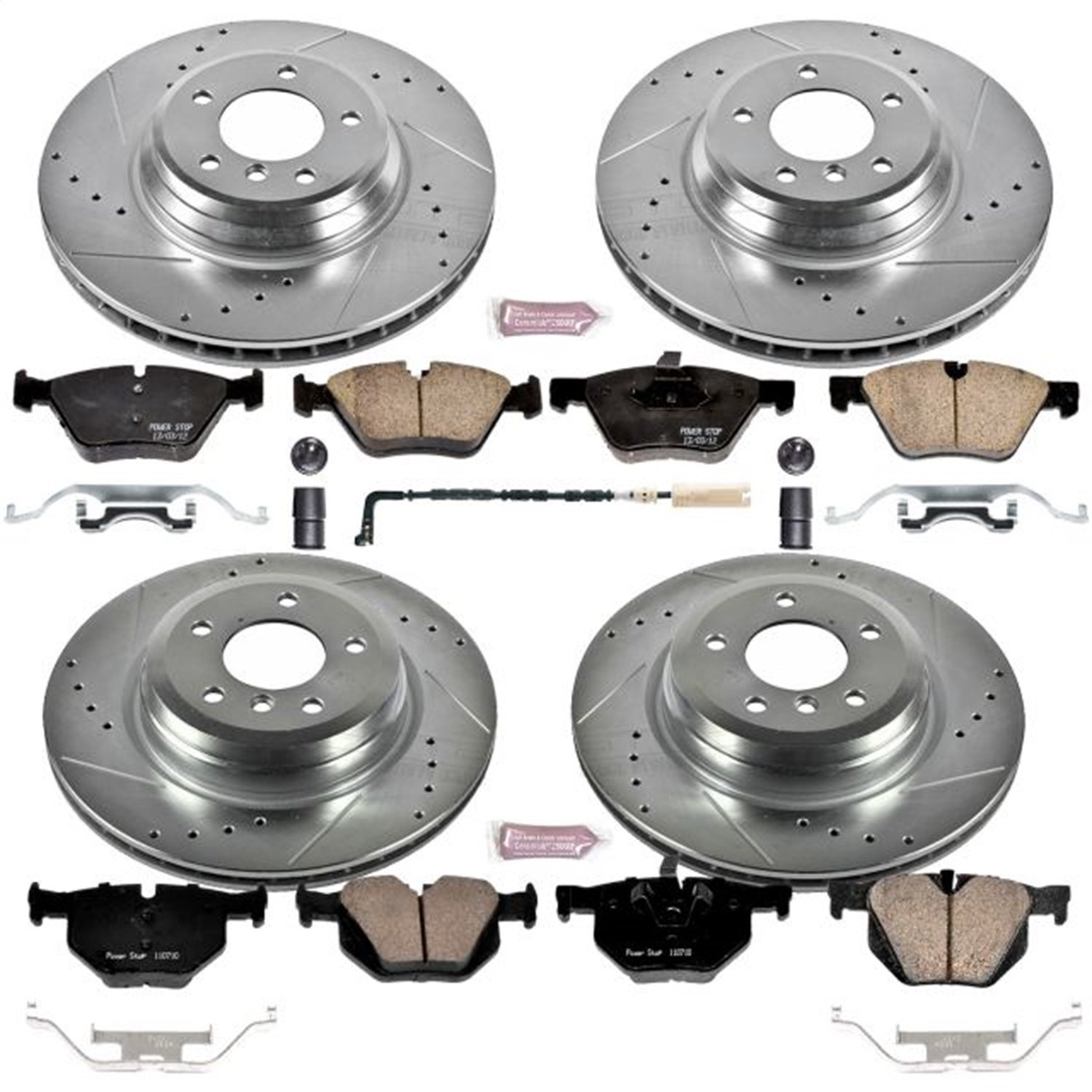 Power Stop K6921 Front and Rear Z23 Evolution Brake Kit with Drilled//Slotted Rotors and Ceramic Brake Pads