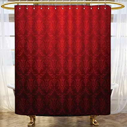 Dark Red Shower Curtains Waterproof Long Antique Floral Pattern With Baroque Royal Renaissance Influences And Ombre