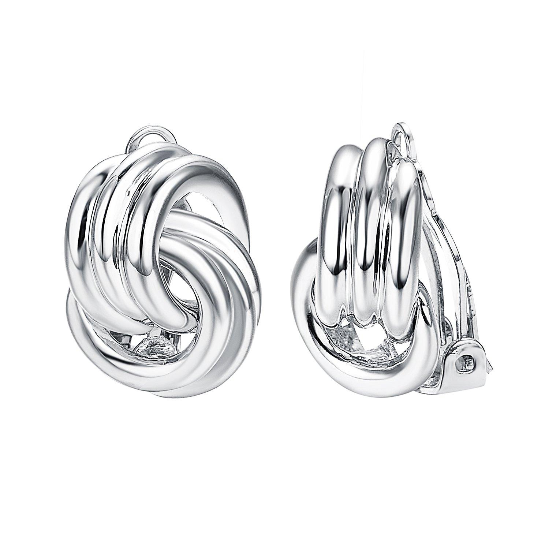Yoursfs Clip on Earrings For Birdal Clear Rhinestone Teardrop Wrap Clip On Earrings For Wedding (Clip Knot Earrings)