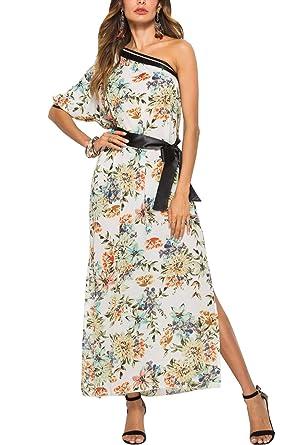 e0d60a6942c YOSICIL Femme Robe Longue Floral Épaules Dénudées avec Ceinture Col Bateau  Robe D été Bohème