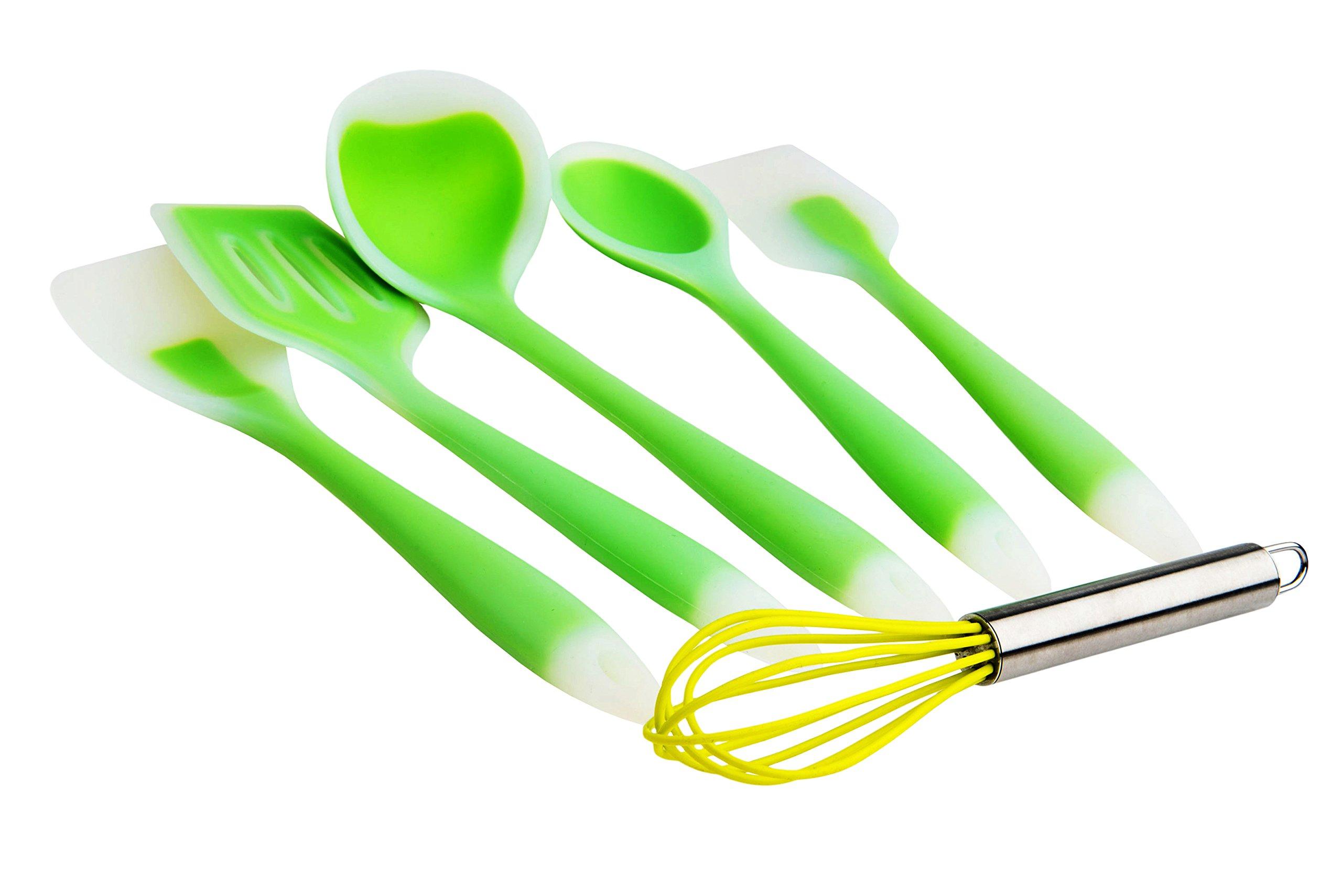 Premium Silicone Kitchen Utensil Set – Non Stick, Heat Resistant Silicone Cookware Spatulas 5+1 Gift Set – 100% Food Grade Silicone & BPA Free – Comfortable Cooking - Dishwasher Safe