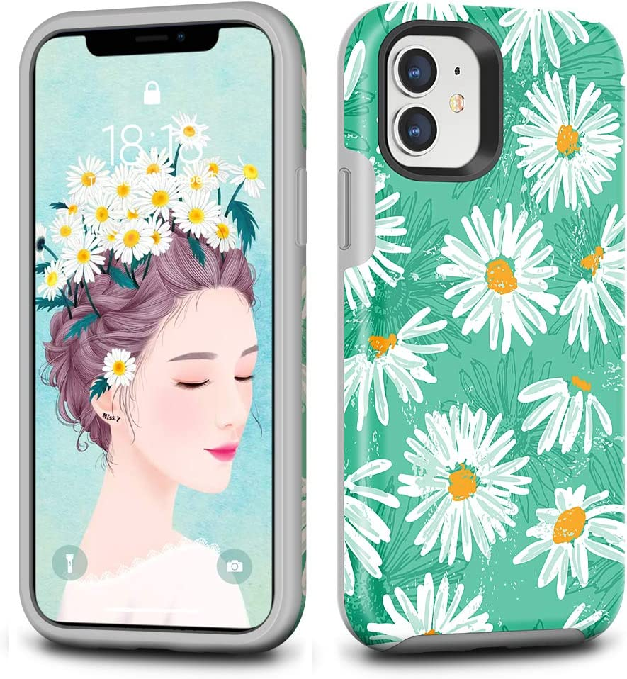 CAFEWICH iPhone 11 Case (6.1''), Shockproof Hybrid Rubber Rugged Protective Cover Women Men for Apple iPhone 11 (Daisy)