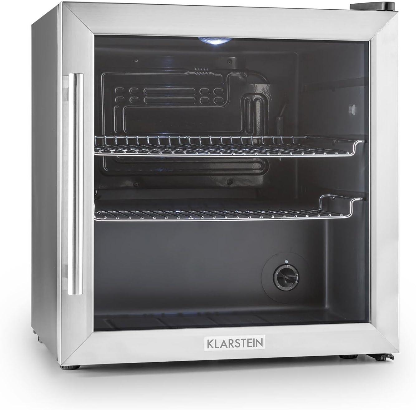 Klarstein Beersafe - Nevera con puerta acristalada, Mininevera, Minibar, Iluminación LED, Acero inoxidable, 5 niveles de frío, 42 dB, 2 rejillas metálicas extraíbles, A+, 50 litros, Negro