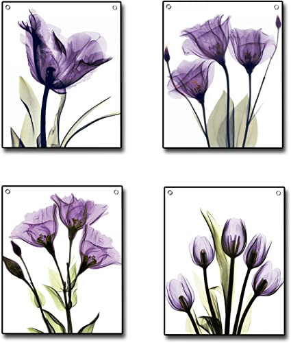 4 Piece Flag Tapestry, Elegant Purple Tulip Flower Canvas Wall Decor Painting Hanging Poster Tapestries with Rustproof Grommets, Seamless Nails Ready to Hang for Home Decoration 19 x24