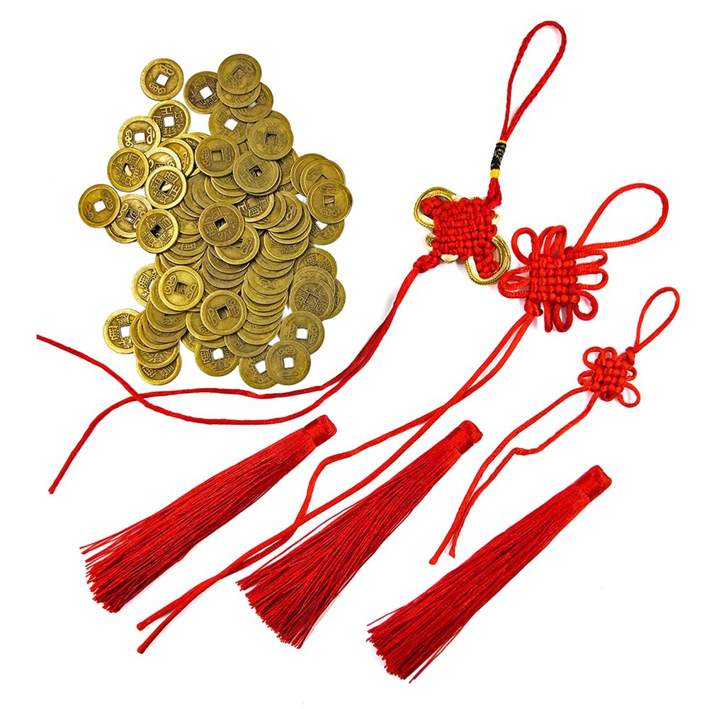 DMIDEA 106 Pieces Chinese Fortune Coins Feng Shui I-ching Good Luck Ancient Dynasty Time Coin Health and Wealth with Chinese knot Tassel (101)