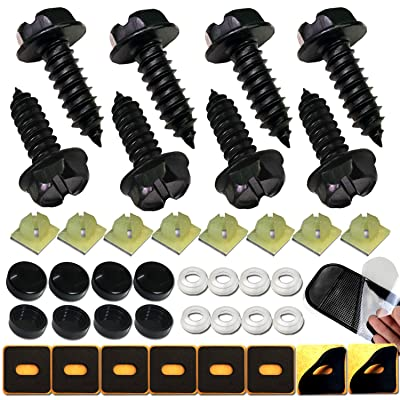 Aootf Black License Plate Frame Screws-Stainless Steel Anti Rust and Caps for Securing License Plates, Frames, Covers on Domestic Cars and Trucks: Automotive