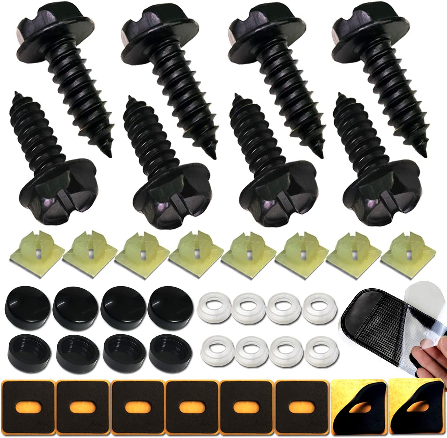Black 4 PCS Security Screw Caps Bolt Covers for Car Truck License Plate Frame
