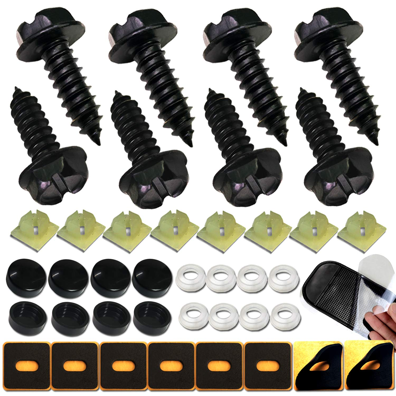 4 License Plate Tag Frame IMPORT Metric Fasteners Screws Bolts Black Caps cover