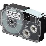 Casio XR-18X1-W-DJ Label Printer Tape (Black and Clear)