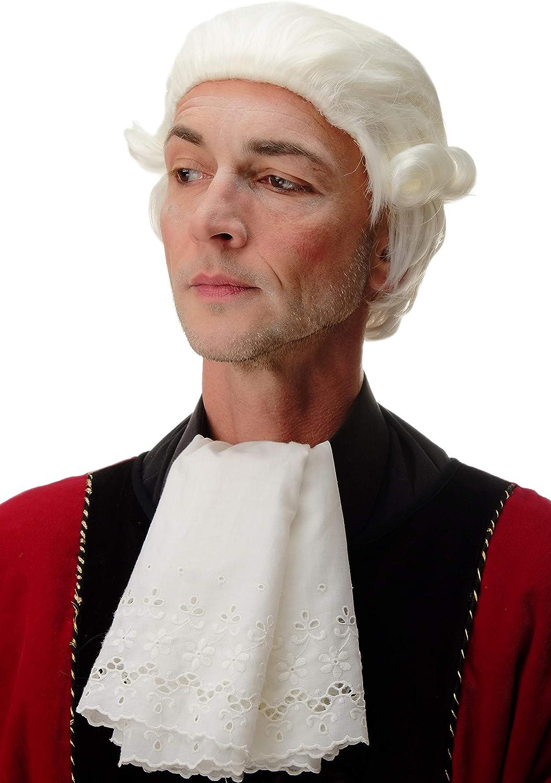 WIG ME UP /® PT0027-KB80 Perruque Dame Homme Carnaval Baroque Noblesse Officier Courte Boucles Blond-Blanc