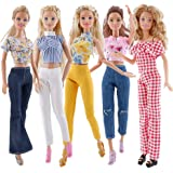 E-TING 10 Pcs = 5 Set Doll Clothes Casual Wear Outfit Tops + Pants with 5 Pair Shoes for 11.5 inches Girl Doll