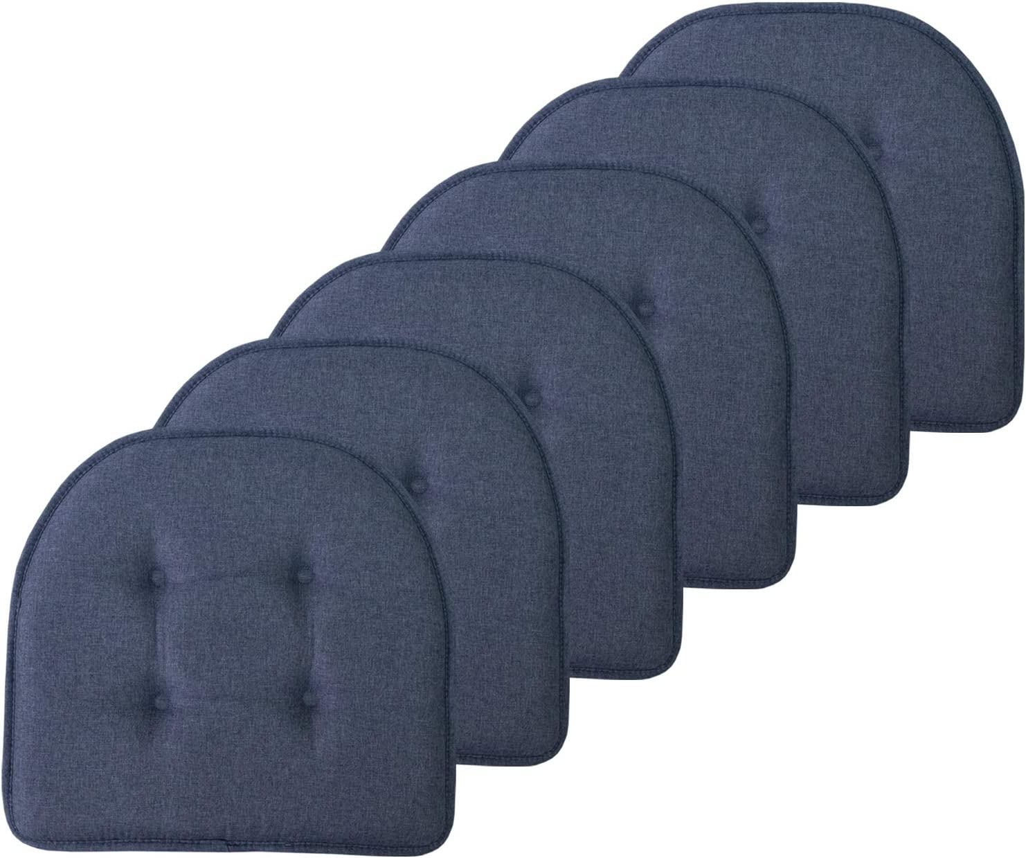 """Sweet Home Collection Chair Cushion Memory Foam Pads Tufted Slip Non Skid Rubber Back U-Shaped 17"""" x 16"""" Seat Cover, 6 Pack, Denim Blue"""
