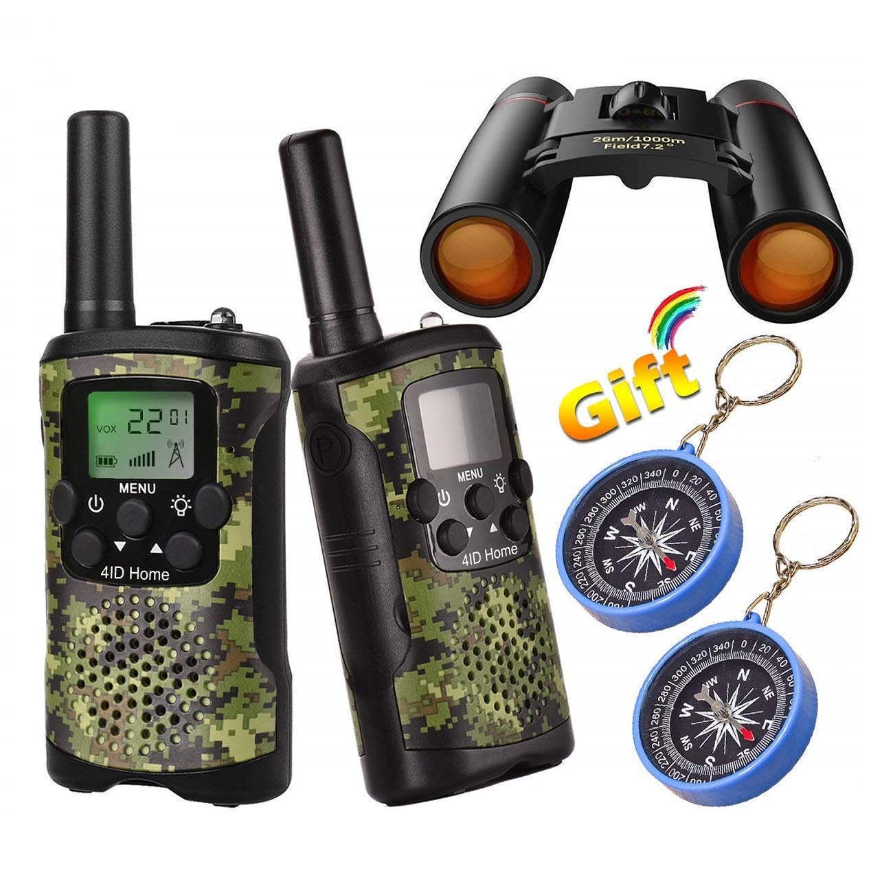 Kids Walkie Talkies Binoculars Toys - Mini Binocular Walkie Talkies for Kids Toy Birthday Gift for 4-10 Year Old Boys and Girls Fit Games, Adventure and Camping. Compass Included