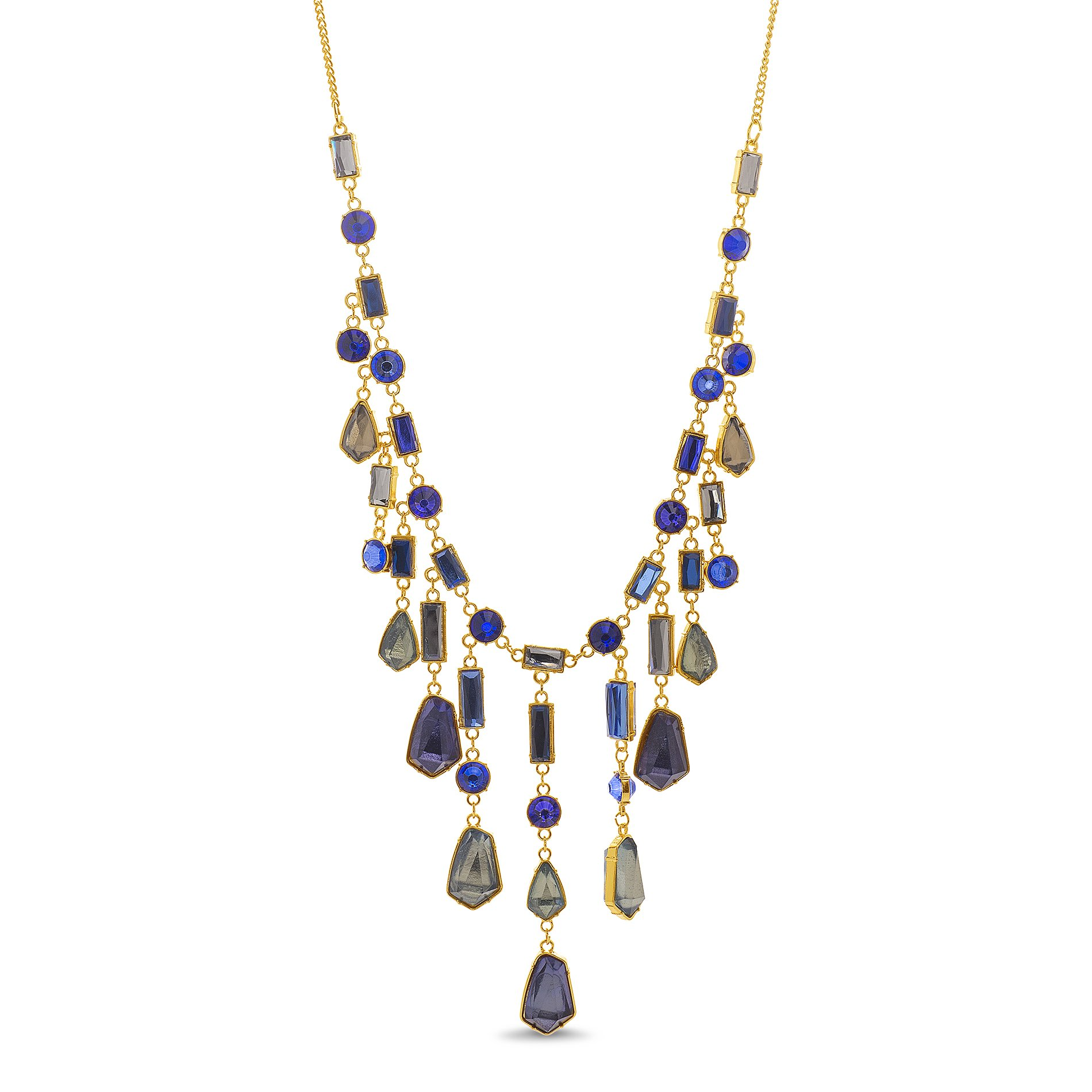 Catherine Malandrino Women's Multi-Colored Stone Waterfall Style Yellow Gold-Tone Necklace