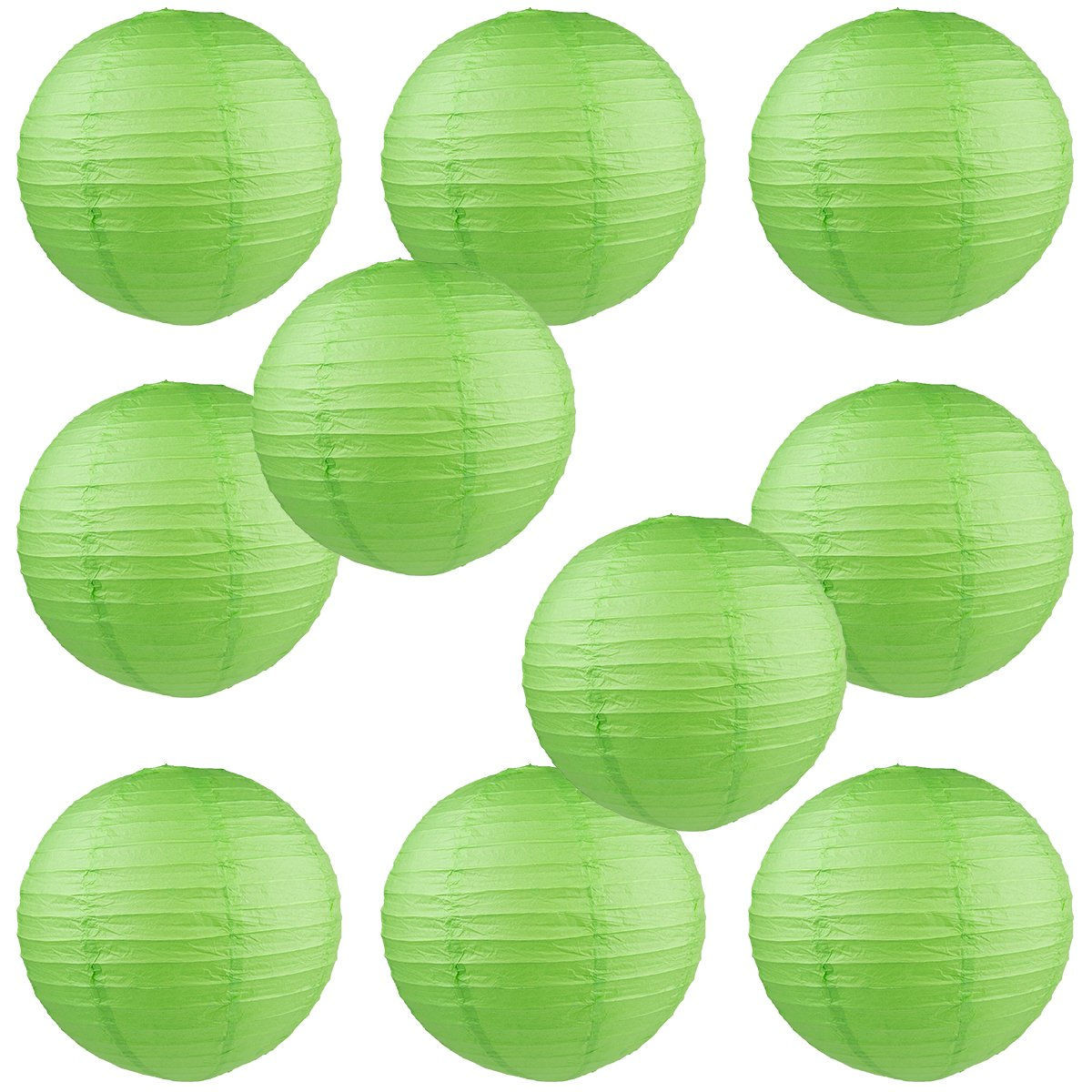 WYZworks Round Paper Lanterns 10 Pack (Green, 8'') - with 8'', 10'', 12'', 14'', 16'' option