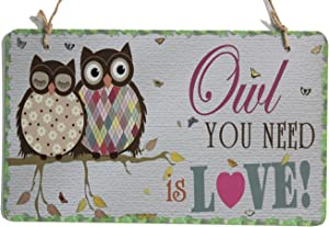 """zhongfei Owl You Need is Love Home Decor Art with Sweet Owl Couple Sign Plaque (10"""" x 6"""")"""
