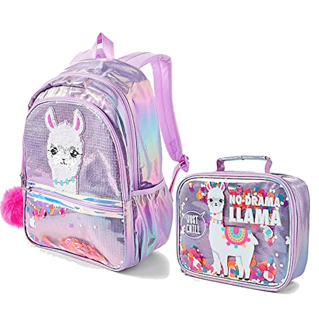 Justice No Drama Llama Sequin Shaky Backpack & Lunch Tote Set