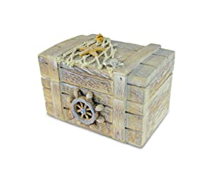 Puzzled Brown Wood Ship's Wheel Vintage Jewelry Box, 4.2 x 2.75 Handcrafted Hinged Starfish Fish Decorations Keepsake Organizer Gift Box - Rings & Trinkets - Nautical Beach Home Decor Stash Storage