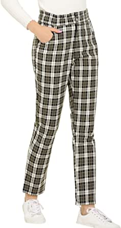 Allegra K Women's Plaid Ankle Pants Tartan Check Elastic High Waist Work Office Trousers