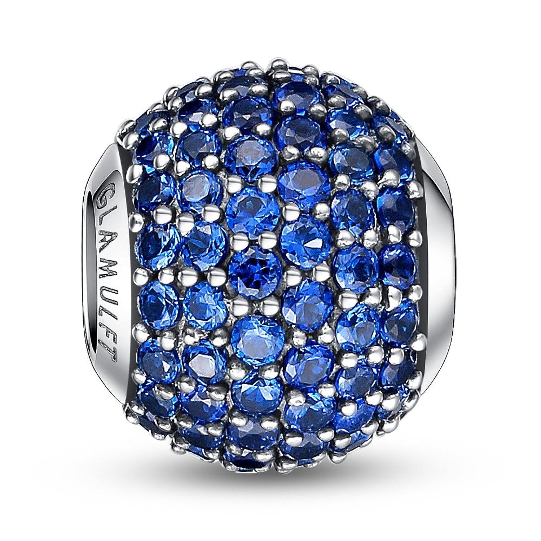 Glamulet Lucky Birthstone Paved Gemstone Charms Beads 925 Sterling Silver Fits Pandora Bracelet