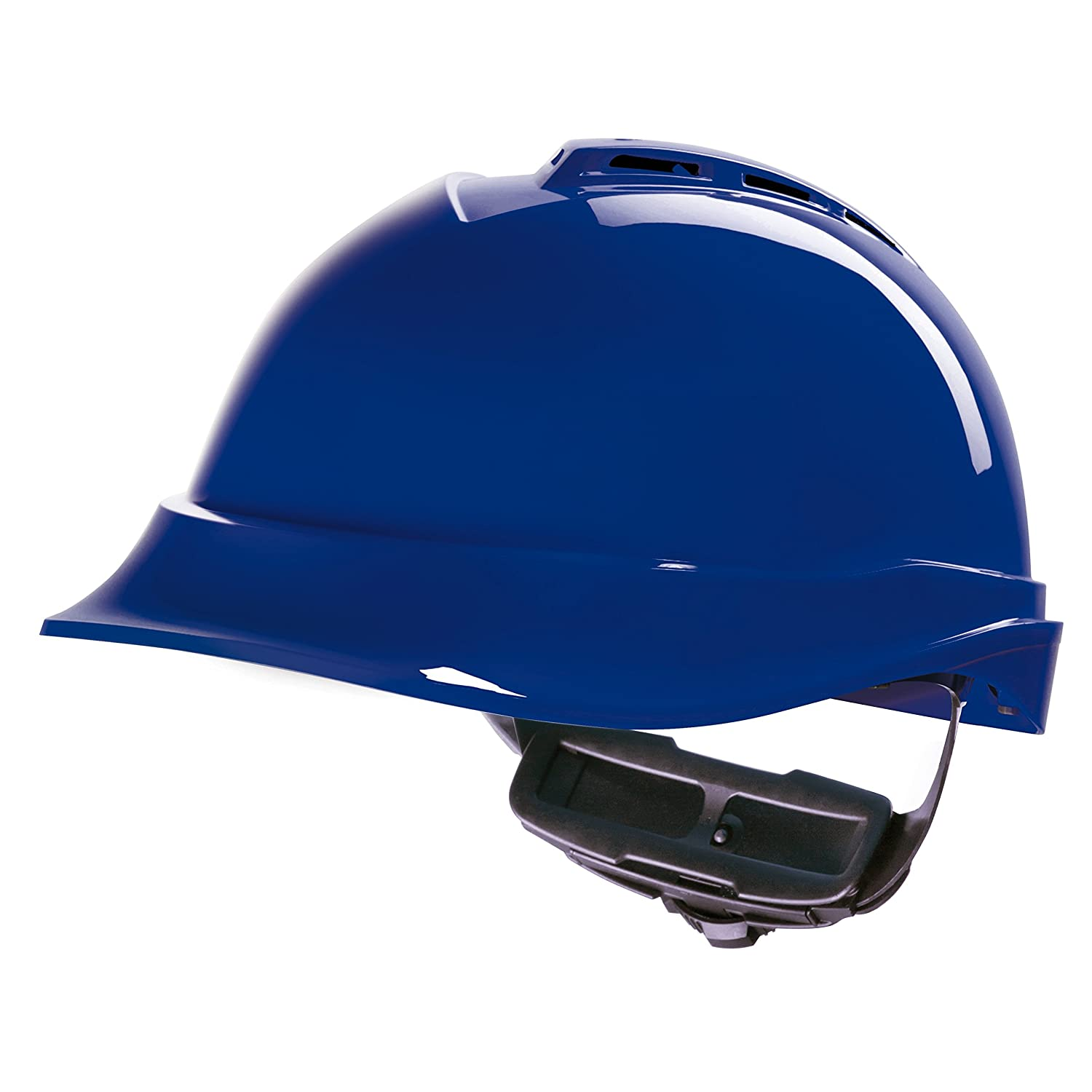 MSA V-Gard 200 Construction Worker Helmet with Ventilation and Rotary Knob  Control FasTrack – Work Helmet Protective Helmet Hard Hat, Colour: Blue