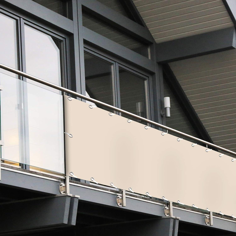mit UV-Schutz Deko f/ür Balkongel/änder Balkon Sichtschutz PVC 90x600 cm 6 Farben /& Designs Wetterfest Extra Blickdicht Anthrazit