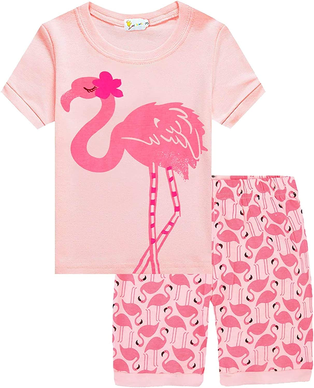 Little Hand Girls Pyjamas Set Unicorn Print Girls Pjs Short Sleeve Cotton Sleepwear Tops Shirts /& Pants for Age 1-7 Years
