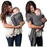 4 in 1 Baby Wrap Carrier and Ring Sling by Kids N' Such | Charcoal Gray Cotton | Use as a Postpartum Belt and Nursing Cover with Free Carrying Pouch | Best Baby Shower Gift for Boys or Girls