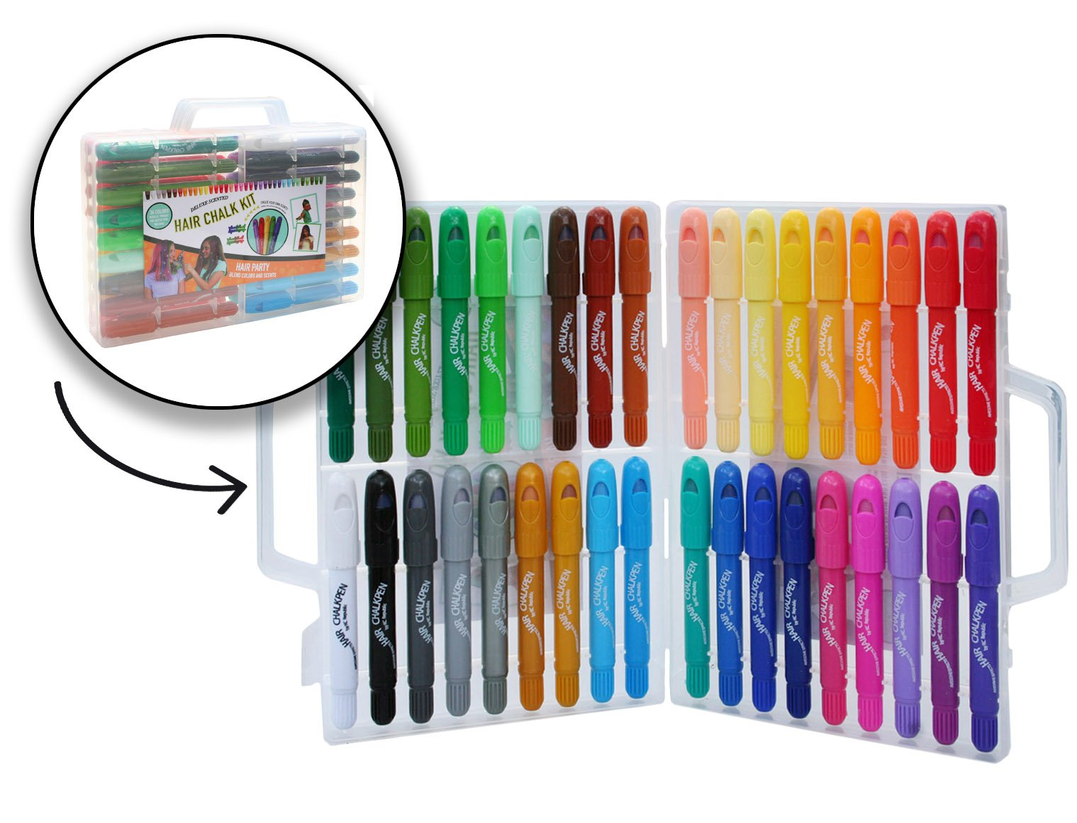 32 Color Hair Chalk Pen Set Boldest and Brightest Metallic and Rainbow by KC Republic