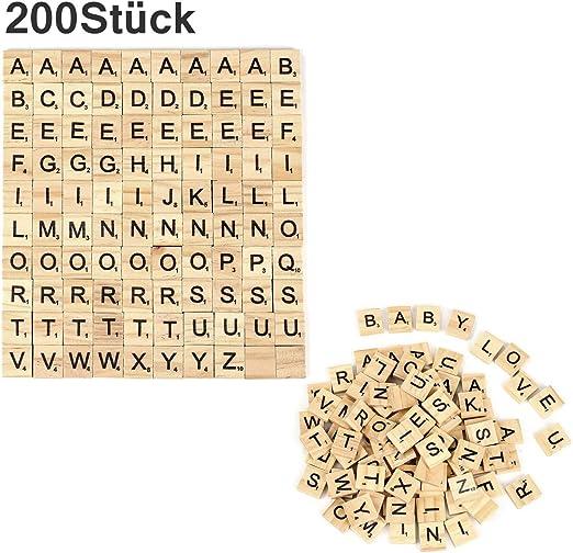 Crazy-M 200 Piezas de Madera Alfabeto Scrabble Azulejos Letras Manualidades Artesanía, Educación Preescolar para niños Letras Azulejos para Jugar: Amazon.es: Juguetes y juegos
