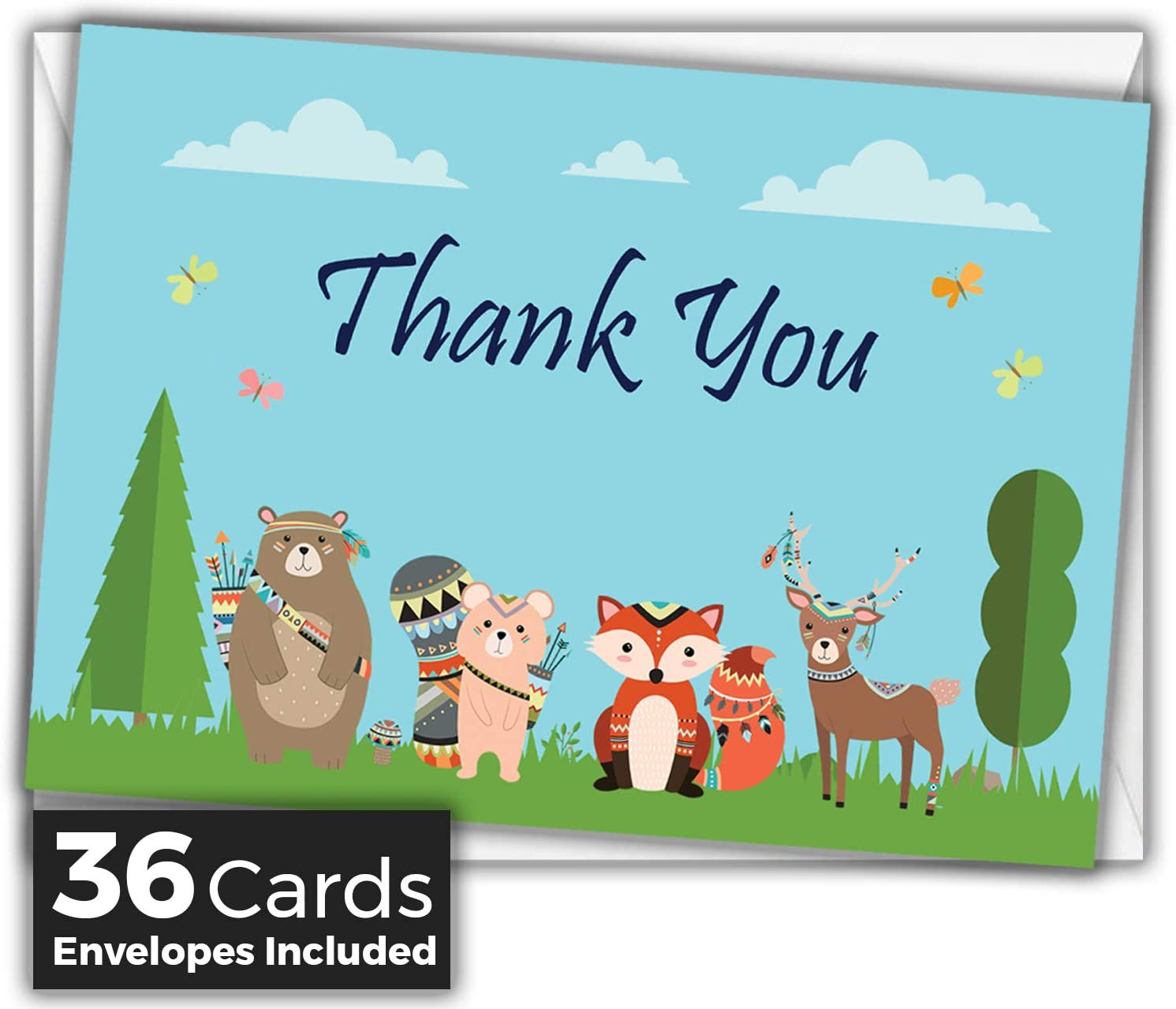 Thank You Cards for Baby Shower Set of 24 Blank Notecards with Envelopes Girls for Boys Kids Made in Canada 6 Designs Variety Pack Parties 4x5 inch Jungle Safari Animals Watercolor Birthdays