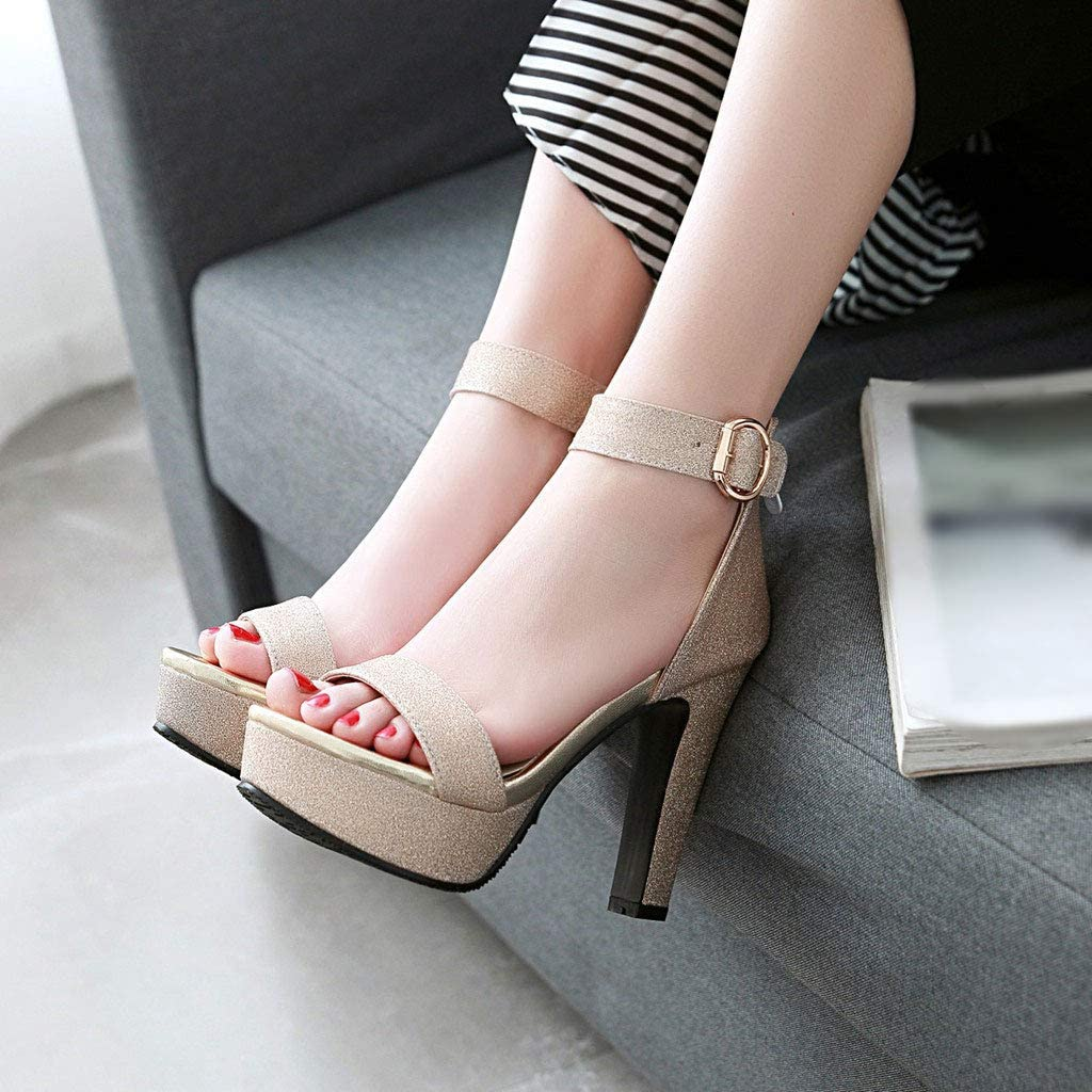 Thick Heel Platform Ankle Strap Buckle Round Head Court Shoes Dress Pumps Closed-Toe Large Size Party Banquet Wedding Womens Shoes FCXBQ High-Heeled Pumps