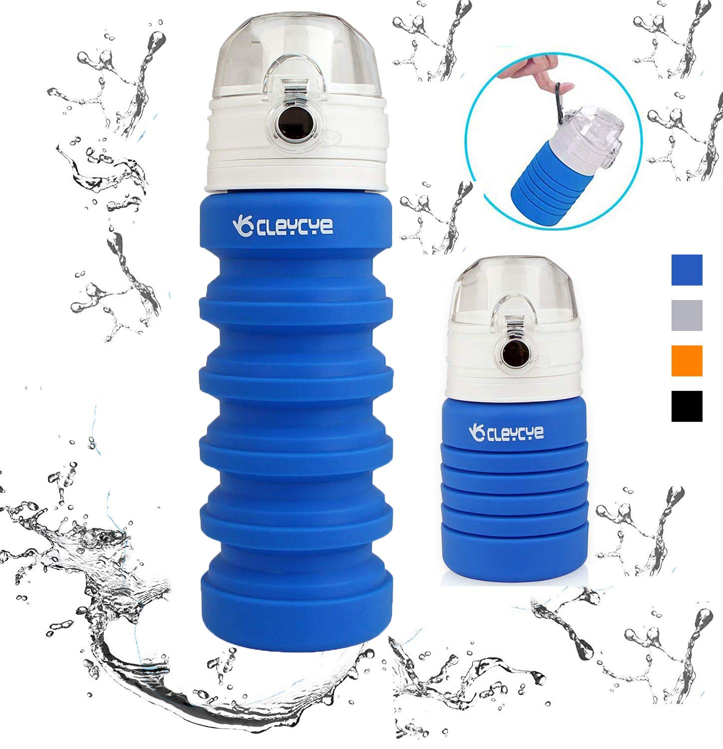 CLEYCYE Collapsible Water Bottle BPA Free, FDA Approved Silicone Food-Grade Portable Foldable Leak Proof Lightweight Travel Sports Water Bottle 18oz,Blue
