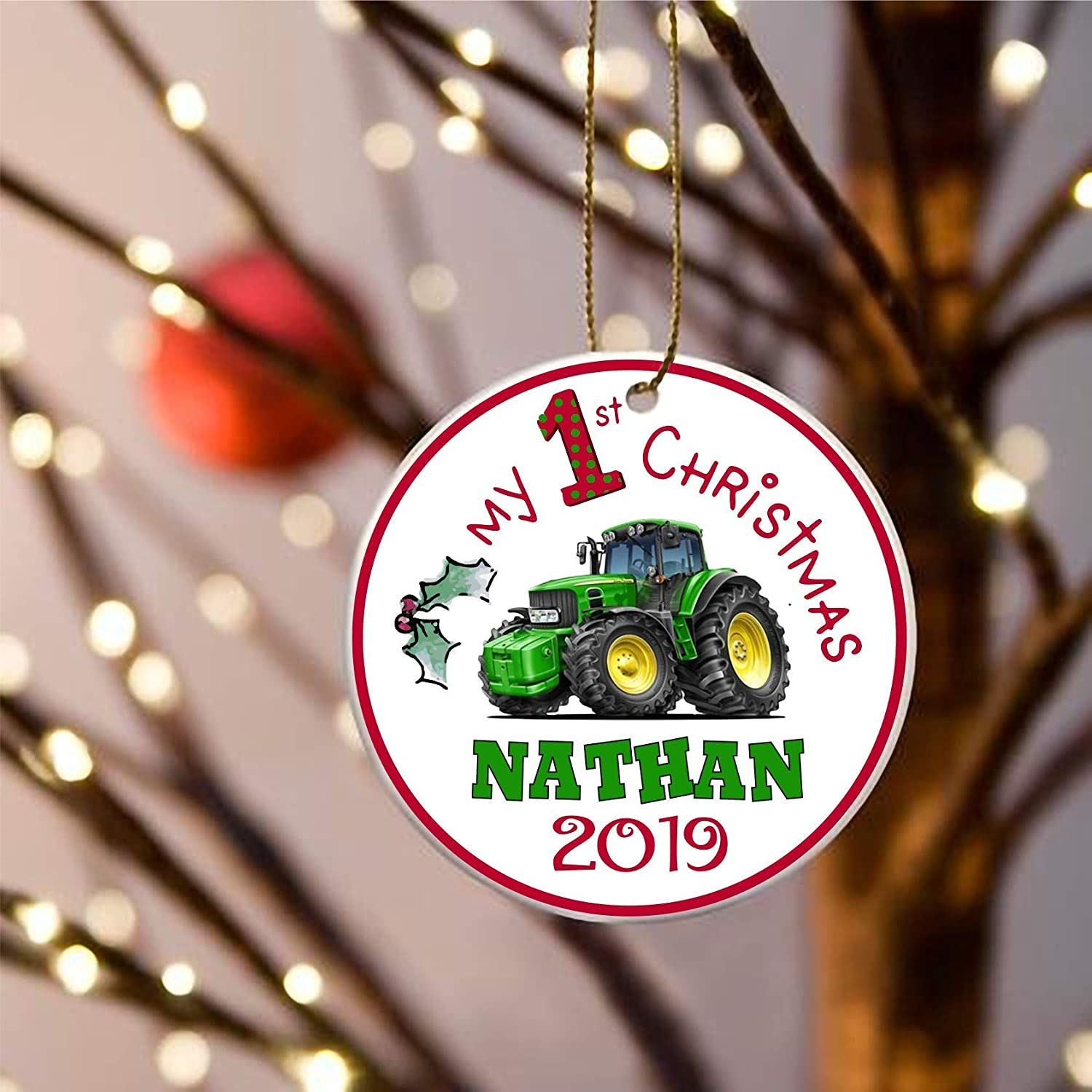 Personalised Hand Crafted Custom Green Tractor Christmas Tree Decorations Xmas Bauble Ornaments