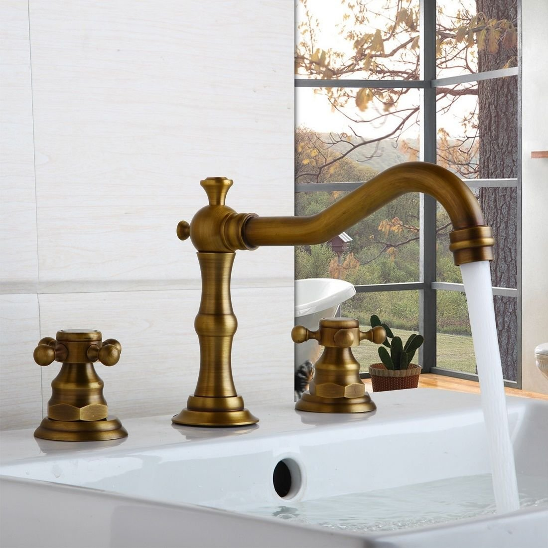 Two Handle Widespread Bathroom Vanity Sink Lavatory Faucet Antique - Brushed brass bathroom faucets