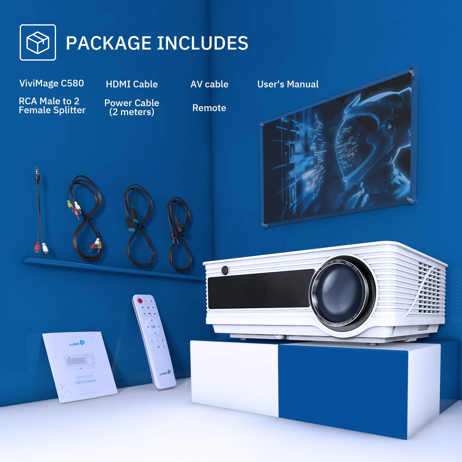 VIVIMAGE Cinemoon 580 Projector1080P Supported, 4000 Lux High Brightness Video Projector with 200'' Projection Size Includes HDMI Cable by VIVIMAGE (Image #9)