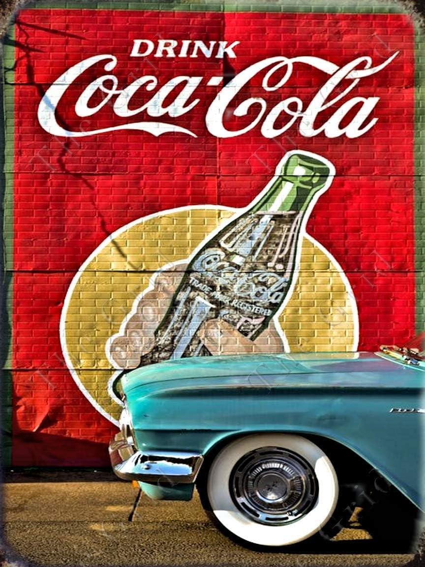 The Grid Metal Coke Tin Sign 50's Retro Kitchen Cocacola Vintage Coke Sign Drink Coca Cola Wall Decor Retro Posters Coca Cola Sign Vintage Coca Cola Signs Coke Decor Coca Cola Poster 12x8