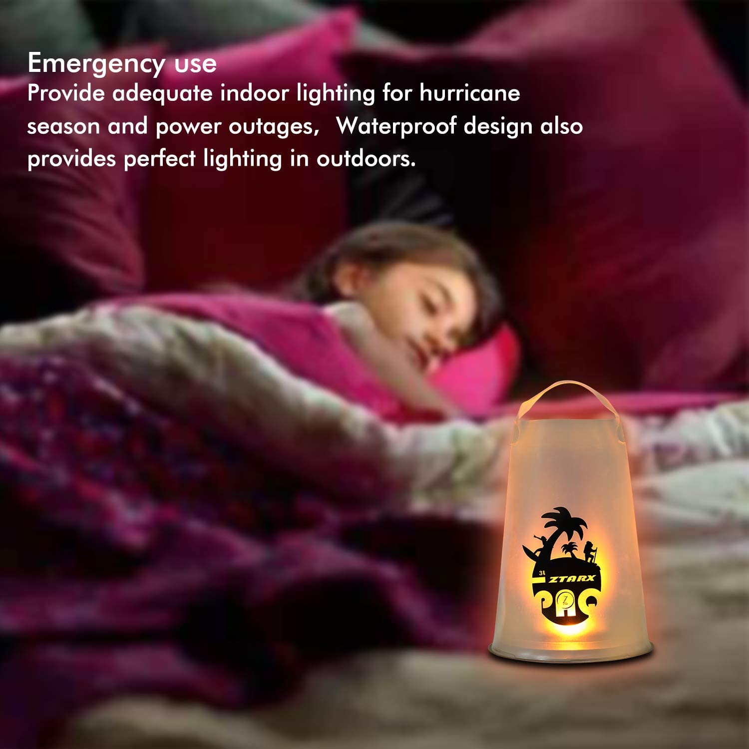 Foldable LED Waterproof Hurricane Battery Powered Light Emergency Kit Camping Portable Indoor Outdoor Lights for Halloween Hiking Inflatable Camping Lantern
